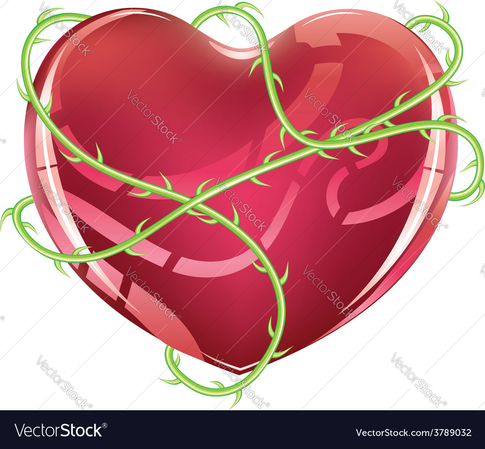 Red heart with thorns vector | Price: 3 Credit (USD $3)