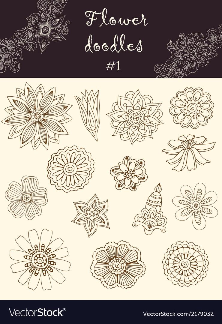 Set 1 doodle flowers series of doodles vector | Price: 1 Credit (USD $1)