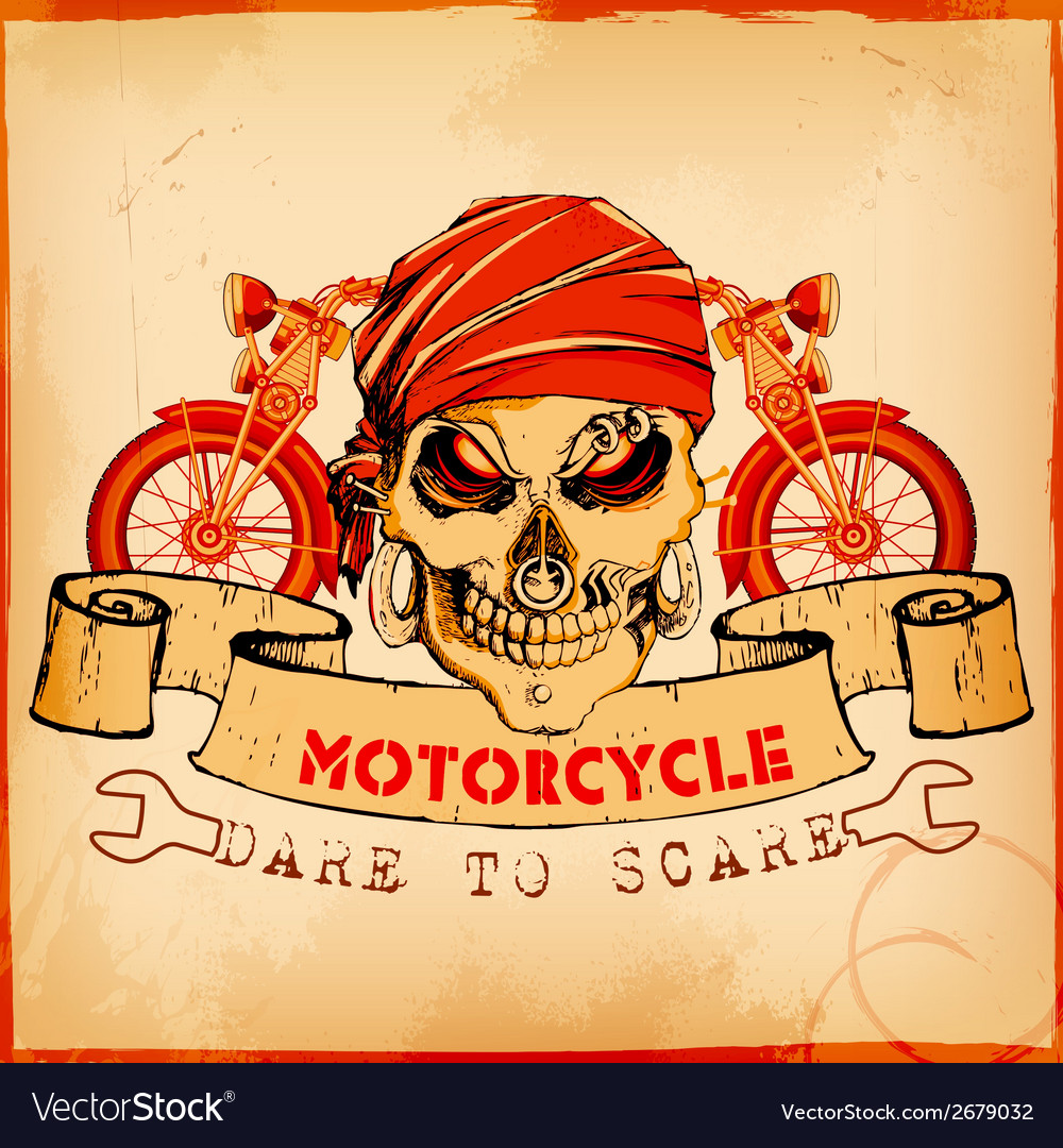 Skull on vintage motorcycle background vector | Price: 1 Credit (USD $1)