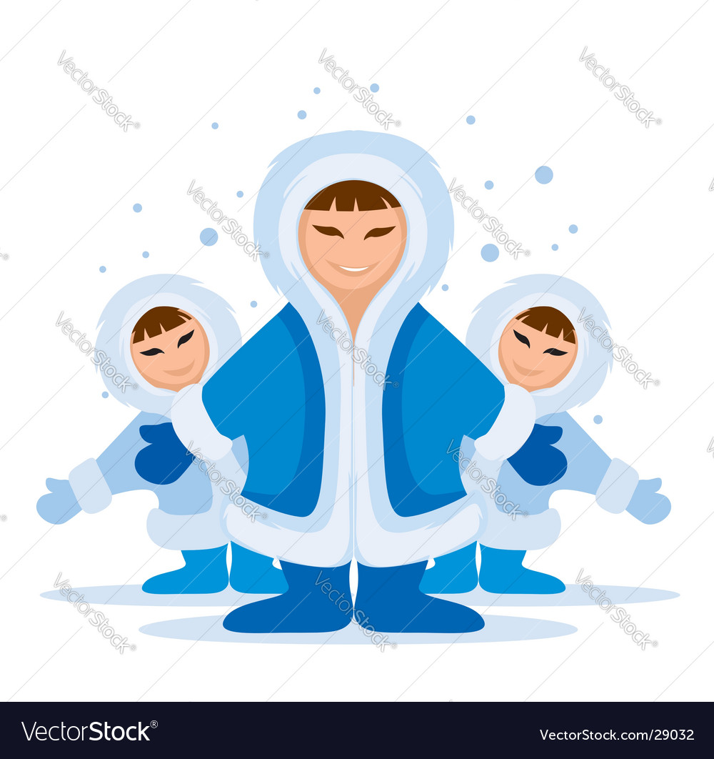 Smiling eskimo people group vector | Price: 1 Credit (USD $1)