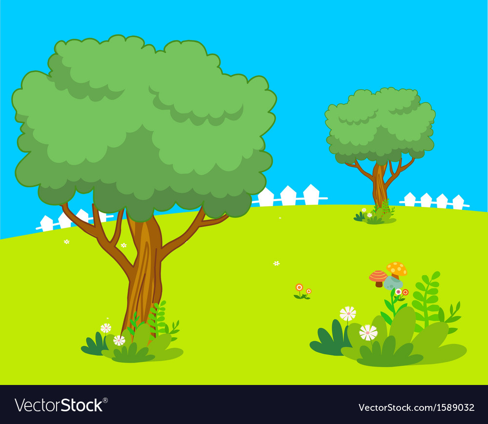 Trees spring lanscape vector | Price: 1 Credit (USD $1)