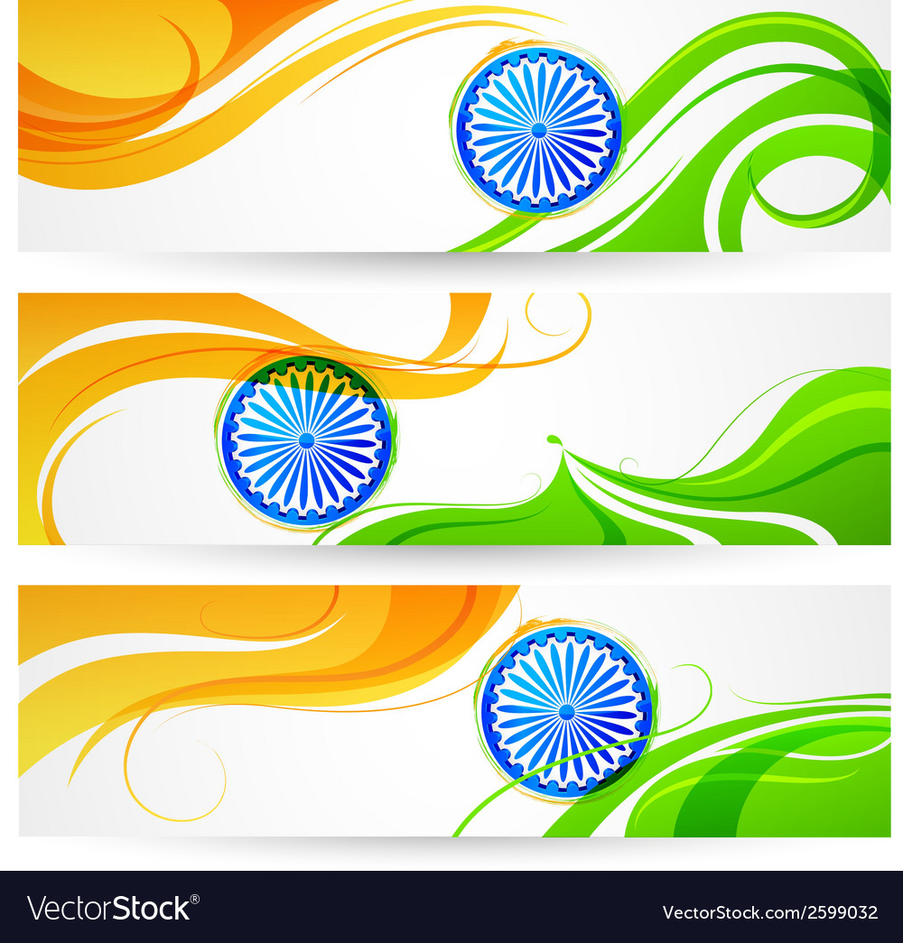 Tricolor india banner vector | Price: 1 Credit (USD $1)