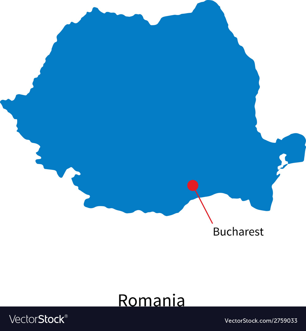 Detailed map of romania and capital city bucharest vector | Price: 1 Credit (USD $1)