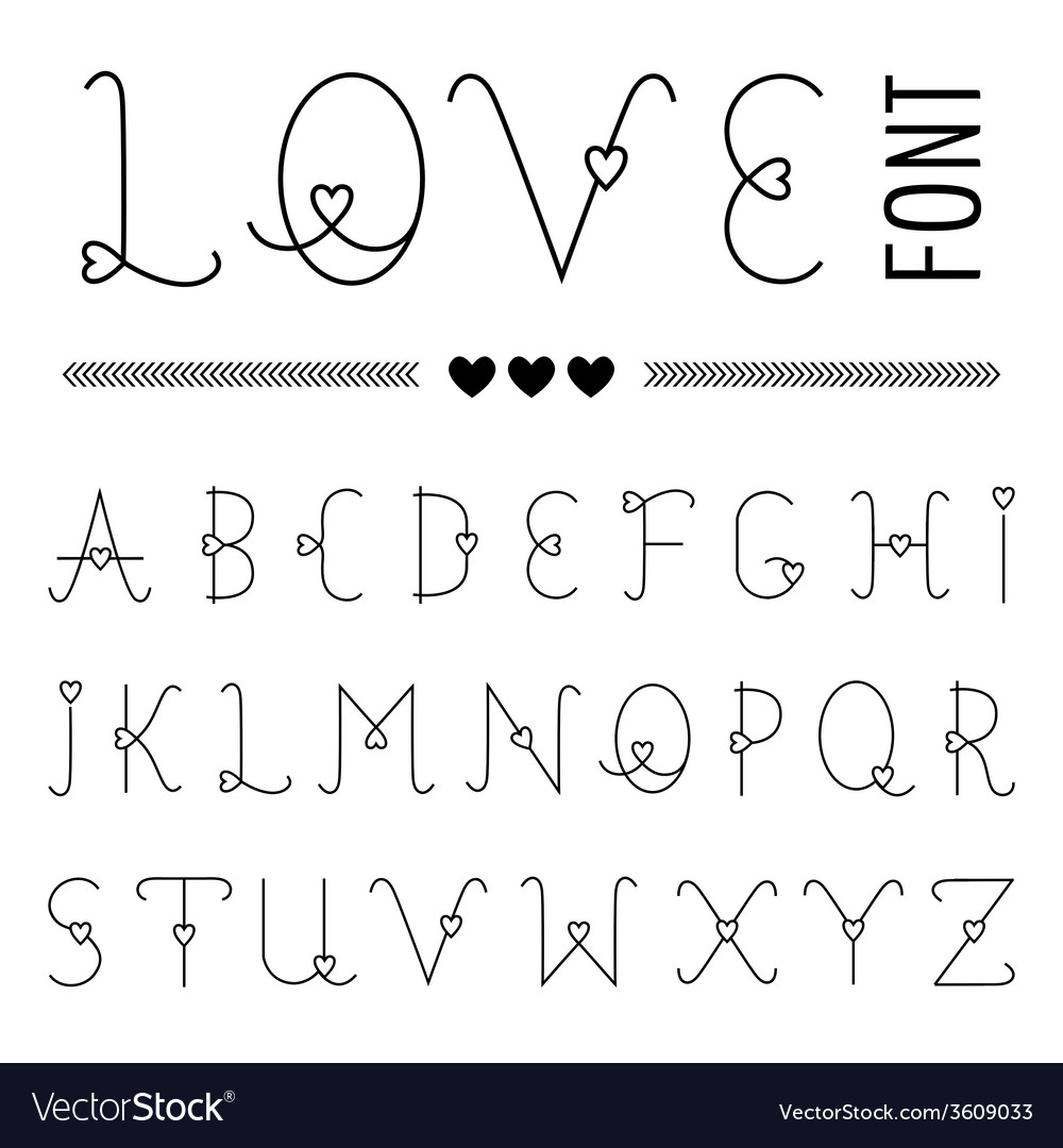 Hand drawn love font - valentines set with hearts vector | Price: 1 Credit (USD $1)