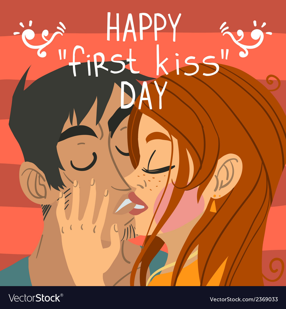 Happy first kiss day greeting card vector | Price: 1 Credit (USD $1)