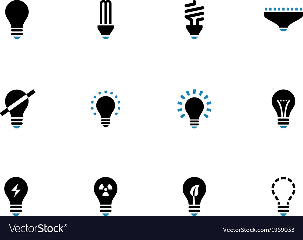Light bulb and cfl lamp duotone icons vector | Price: 1 Credit (USD $1)