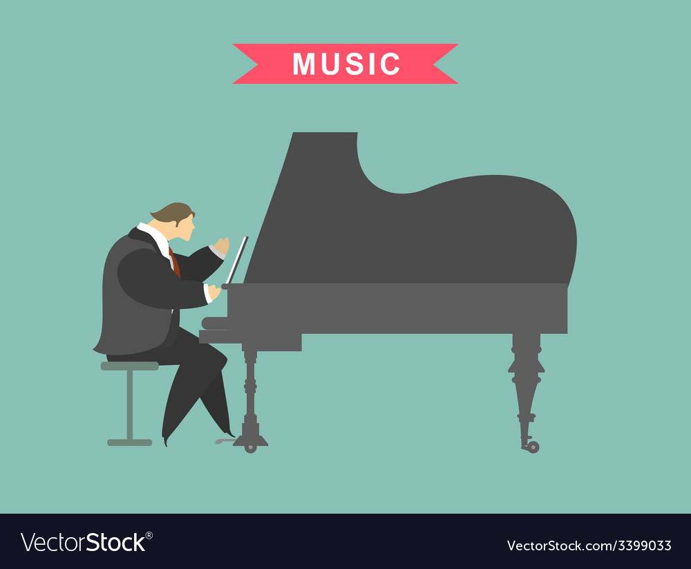 Man playing the piano vector | Price: 1 Credit (USD $1)