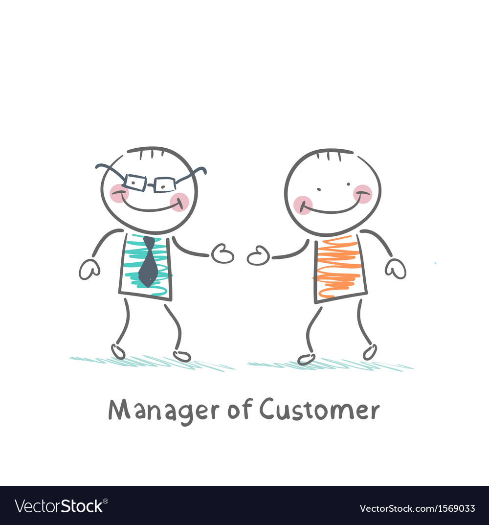 Manager customer greets with the client vector | Price: 1 Credit (USD $1)