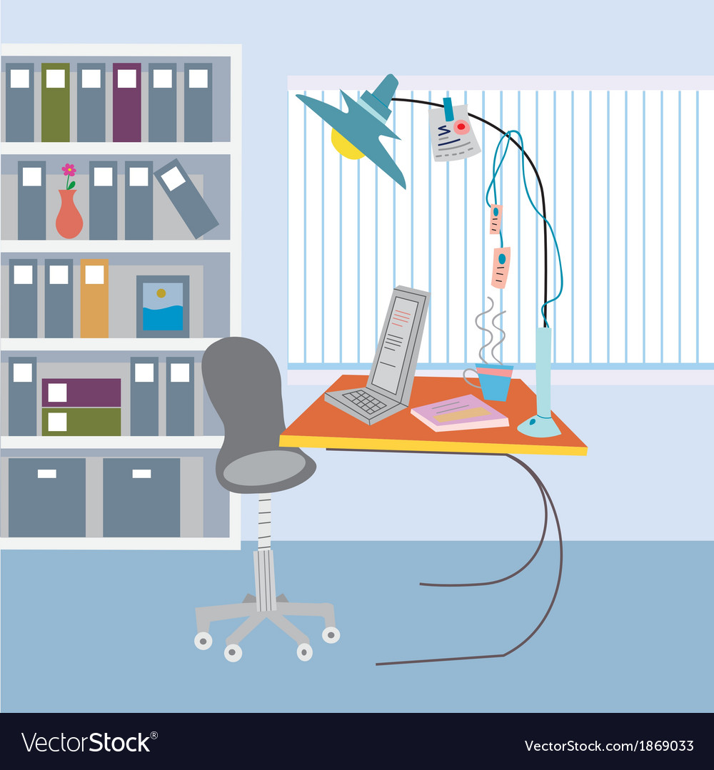 Office working place vector | Price: 1 Credit (USD $1)