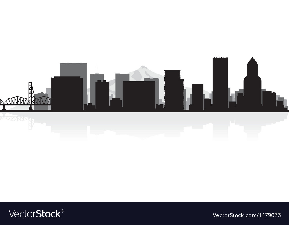 Portland usa city skyline silhouette vector | Price: 1 Credit (USD $1)