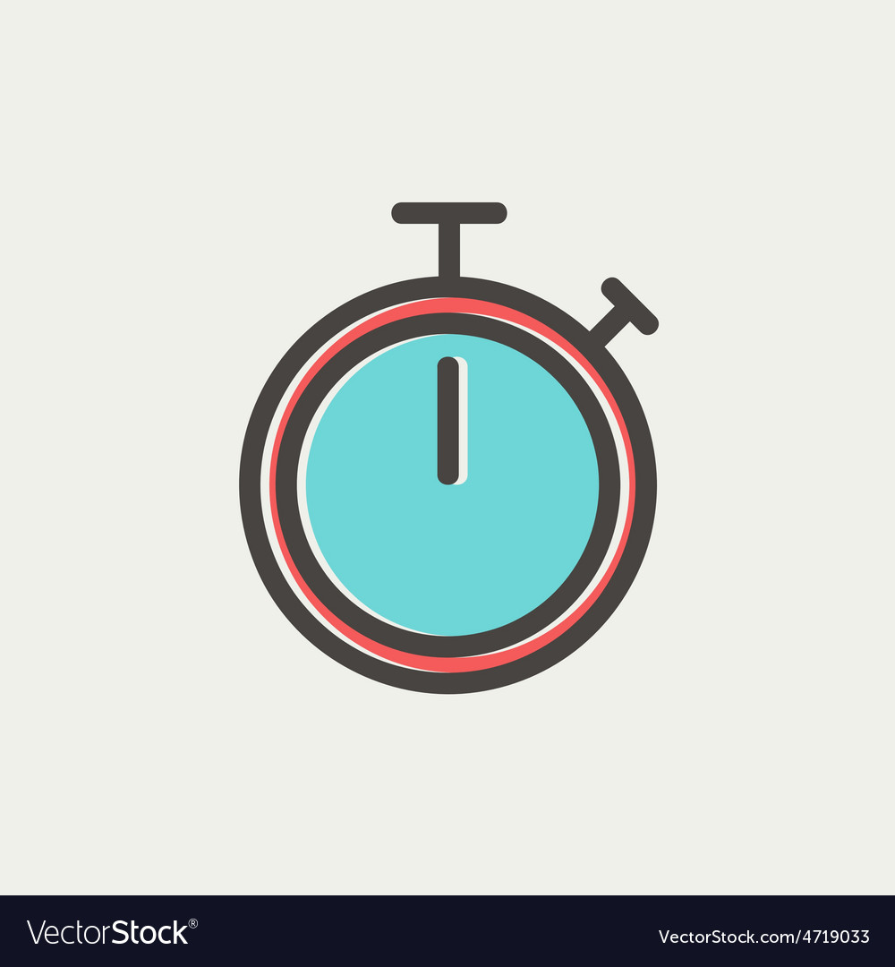 Stop watch thin line icon vector | Price: 1 Credit (USD $1)