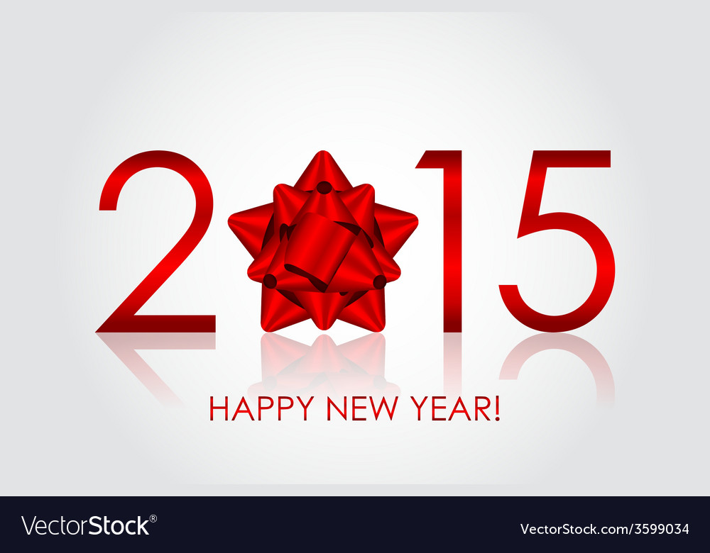 2015 happy new year background with red bow vector | Price: 1 Credit (USD $1)