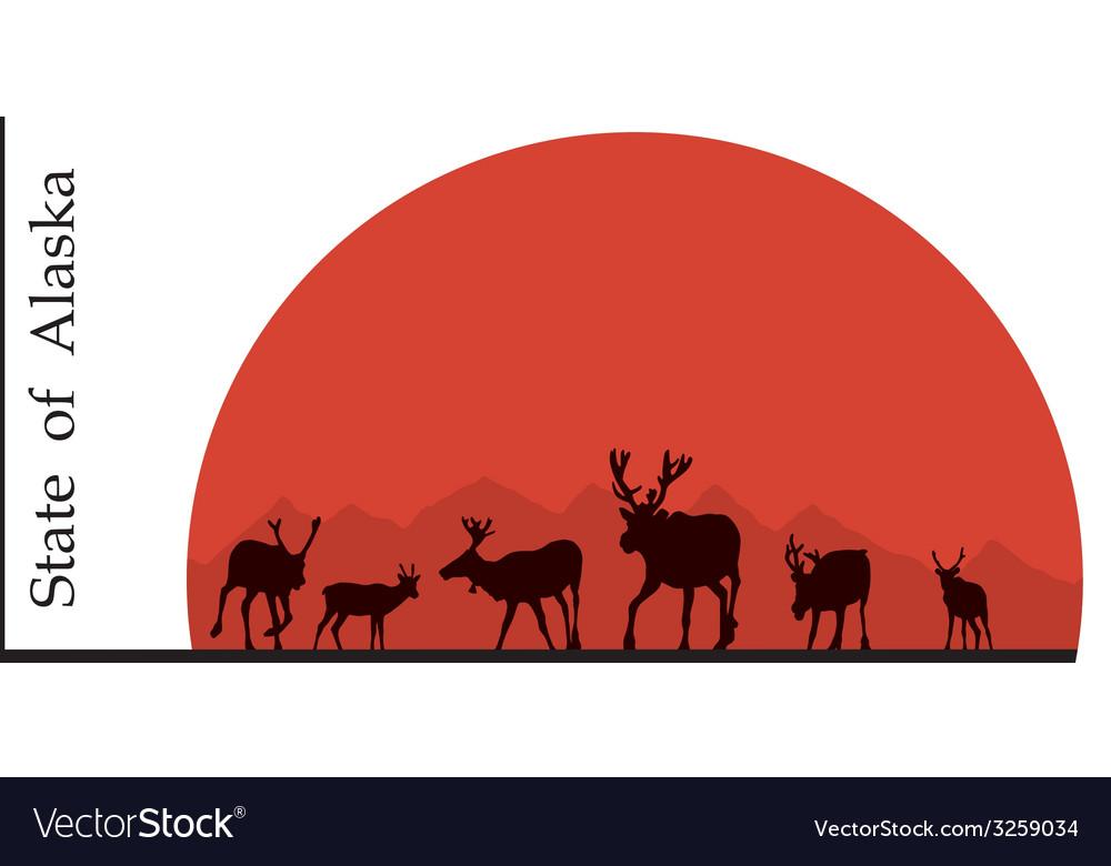 Alaska deer against the sun vector | Price: 1 Credit (USD $1)