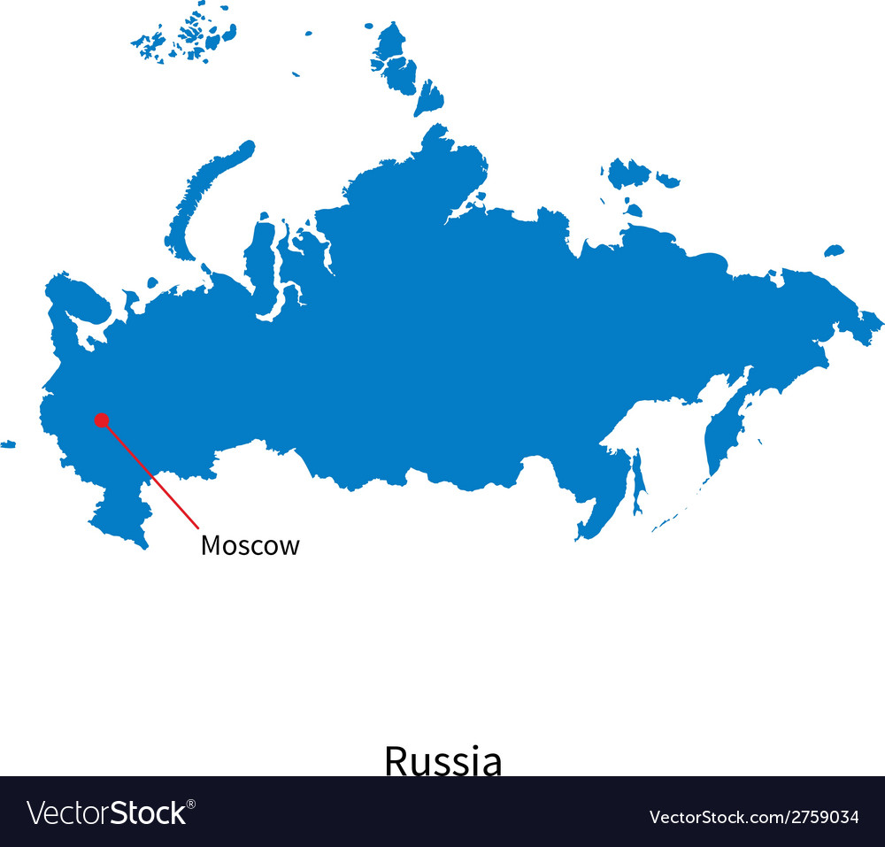 Detailed map of russia and capital city moscow vector | Price: 1 Credit (USD $1)