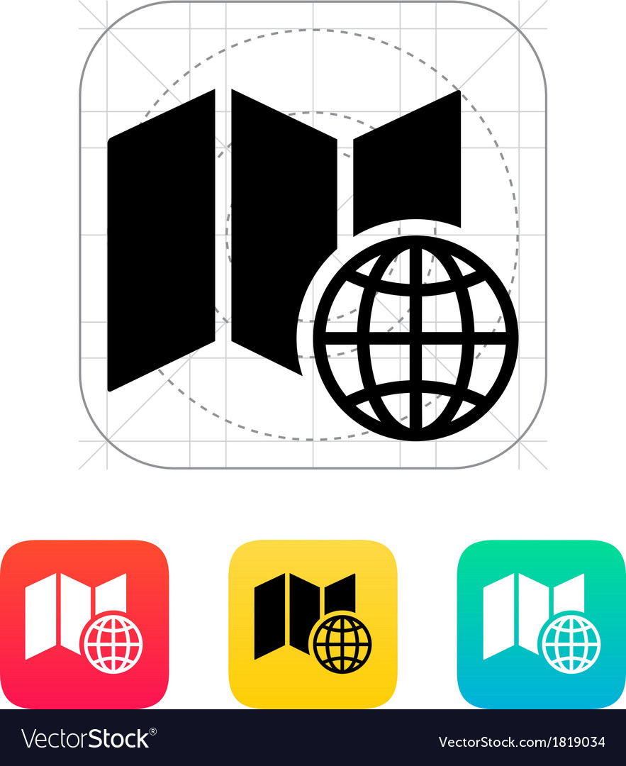 Globe map icon vector | Price: 1 Credit (USD $1)