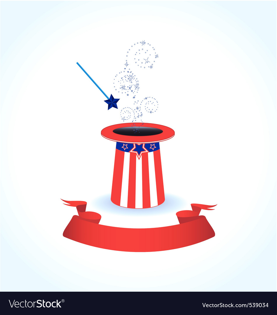 Magic hat with magic wand vector | Price: 1 Credit (USD $1)