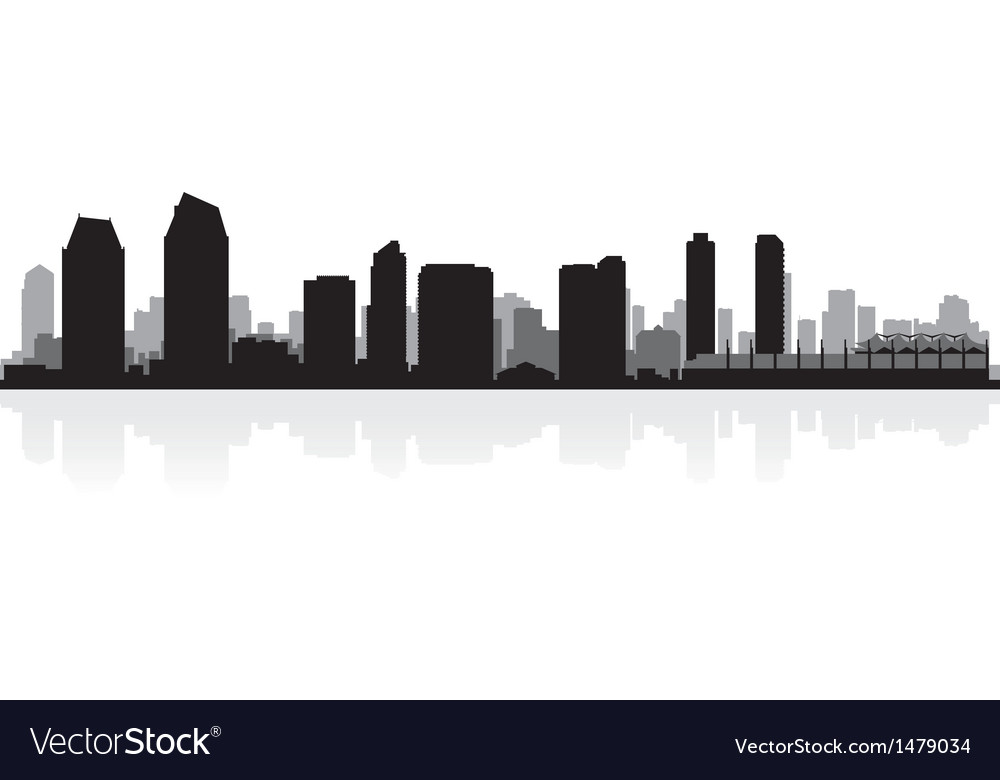 San diego usa city skyline silhouette vector | Price: 1 Credit (USD $1)