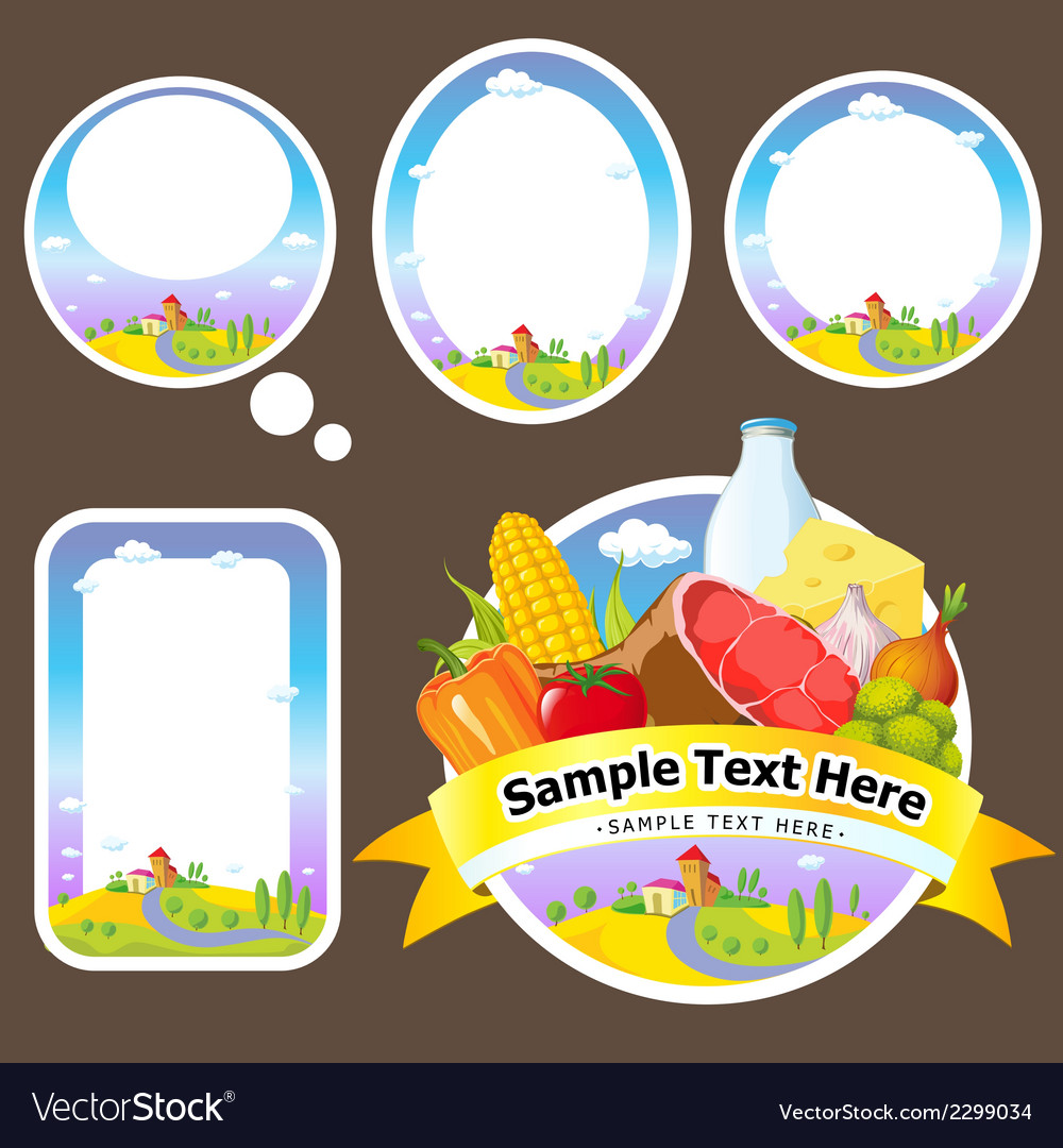 Stickers and labels with landscape farmland vector | Price: 1 Credit (USD $1)