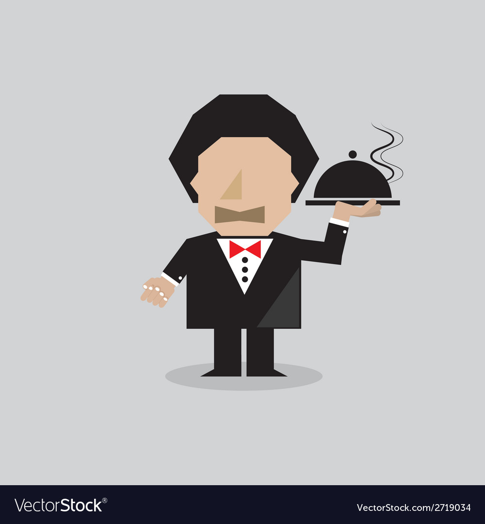 Waiter serving food vector | Price: 1 Credit (USD $1)
