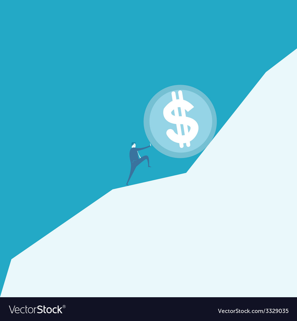 Business man pushing a huge coin up hill vector | Price: 1 Credit (USD $1)