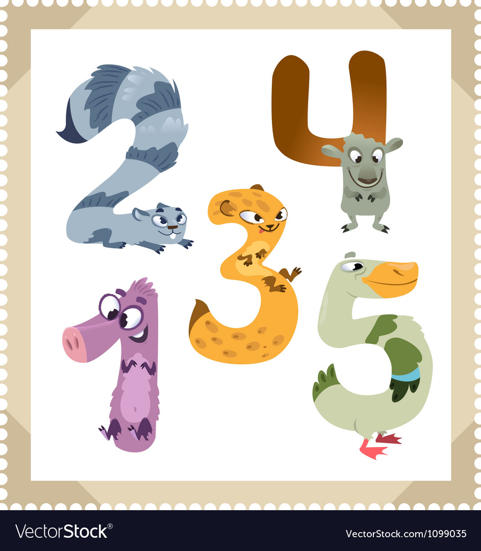 Cartoon animals numbers set with white bacground vector | Price: 3 Credit (USD $3)