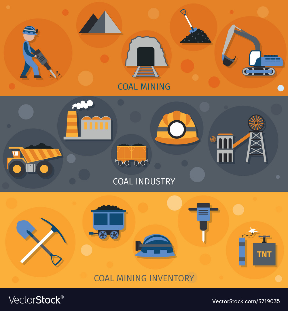 Coal industry banners vector | Price: 1 Credit (USD $1)