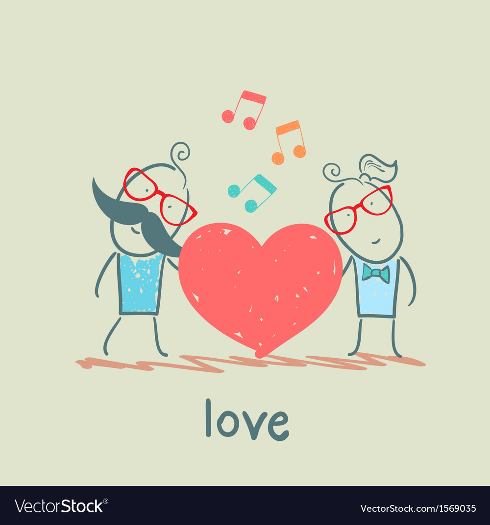 Girl and guy listening to the melody of the heart vector | Price: 1 Credit (USD $1)