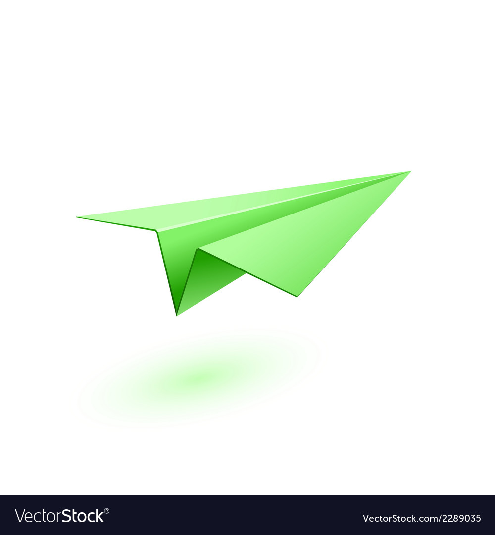 Green paper airplane vector | Price: 1 Credit (USD $1)