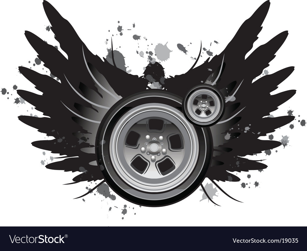Grunge winged wheel vector | Price: 1 Credit (USD $1)
