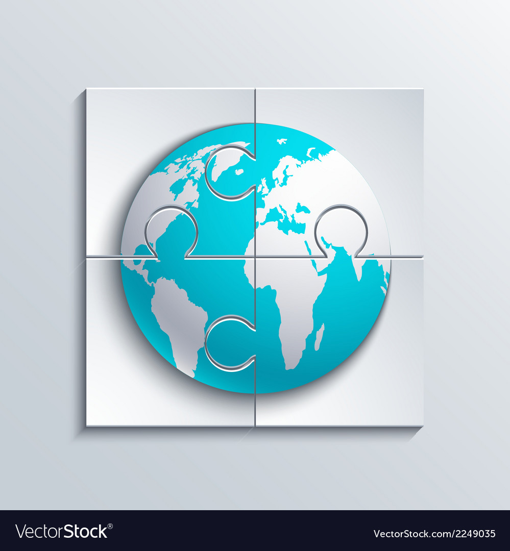 Modern concept puzzle and world vector | Price: 1 Credit (USD $1)