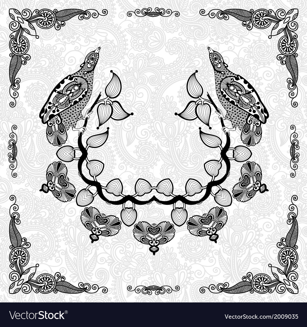 Ornamental floral and bird frame design vector | Price: 1 Credit (USD $1)