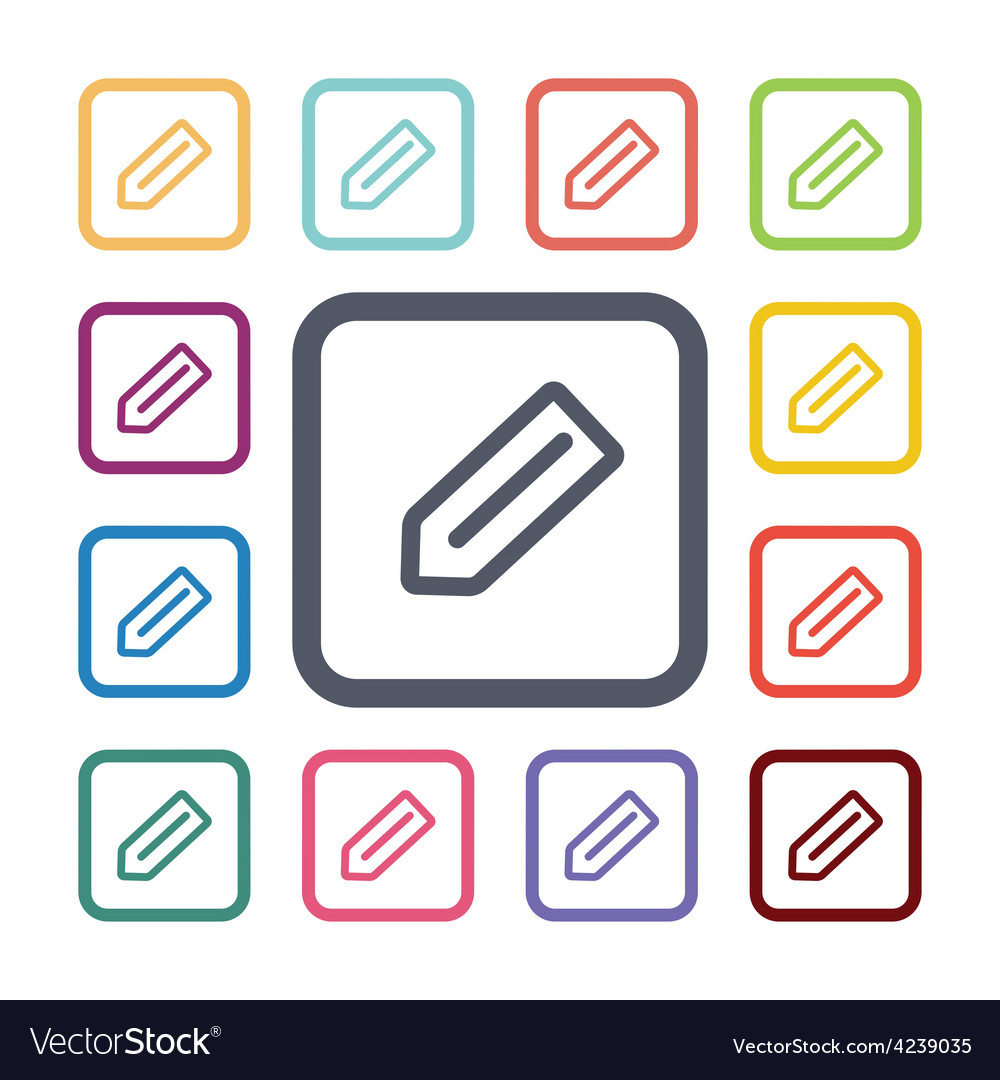 Pencil flat icons set vector | Price: 1 Credit (USD $1)
