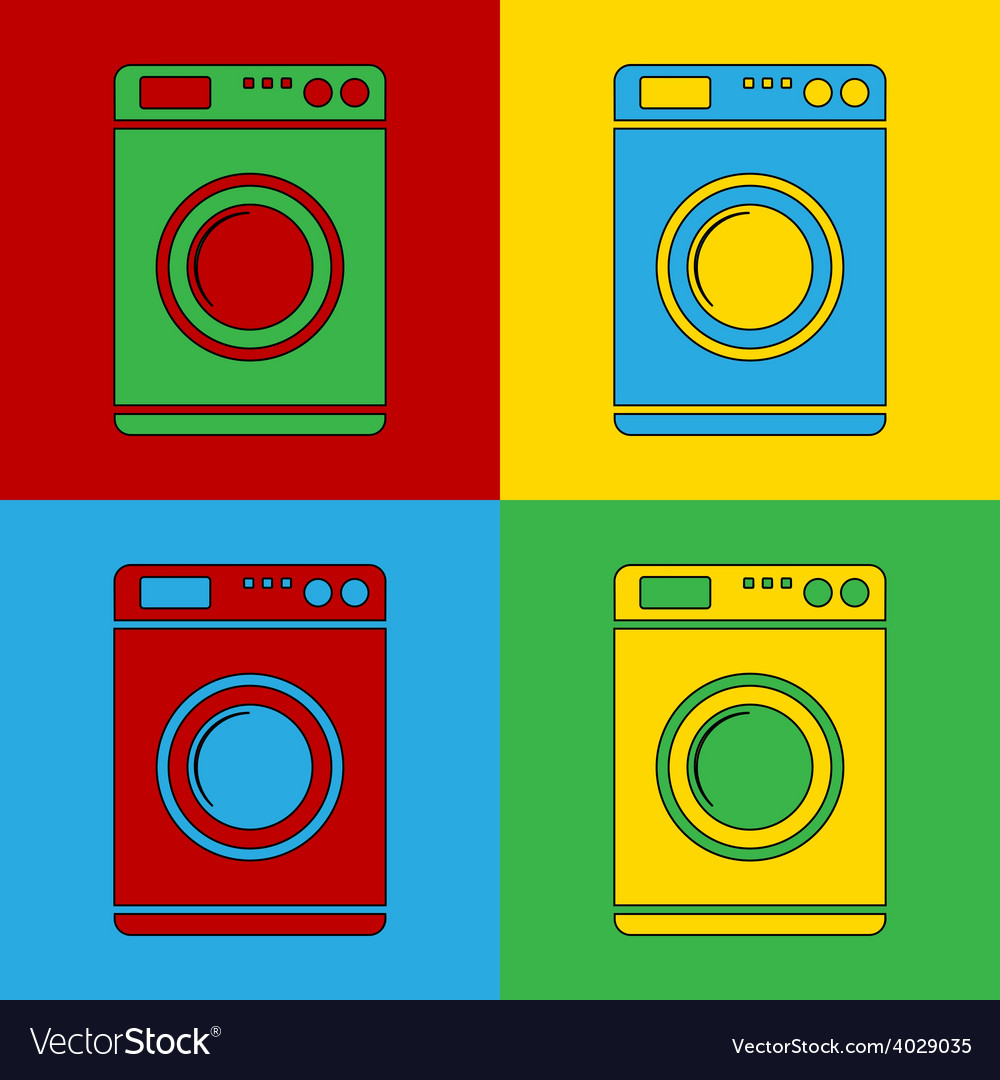 Pop art washing machine icons vector | Price: 1 Credit (USD $1)