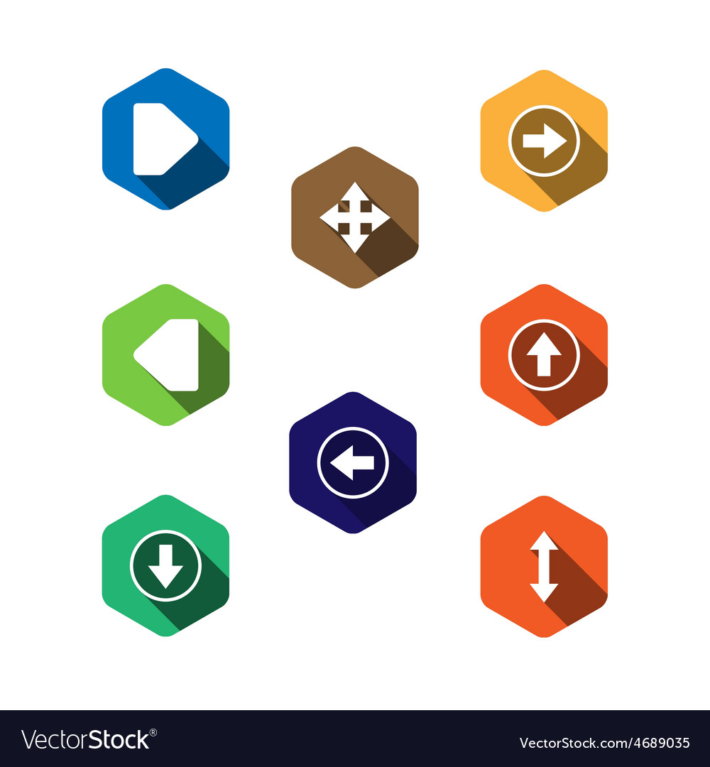 Set icons with arrows flat design vector | Price: 1 Credit (USD $1)
