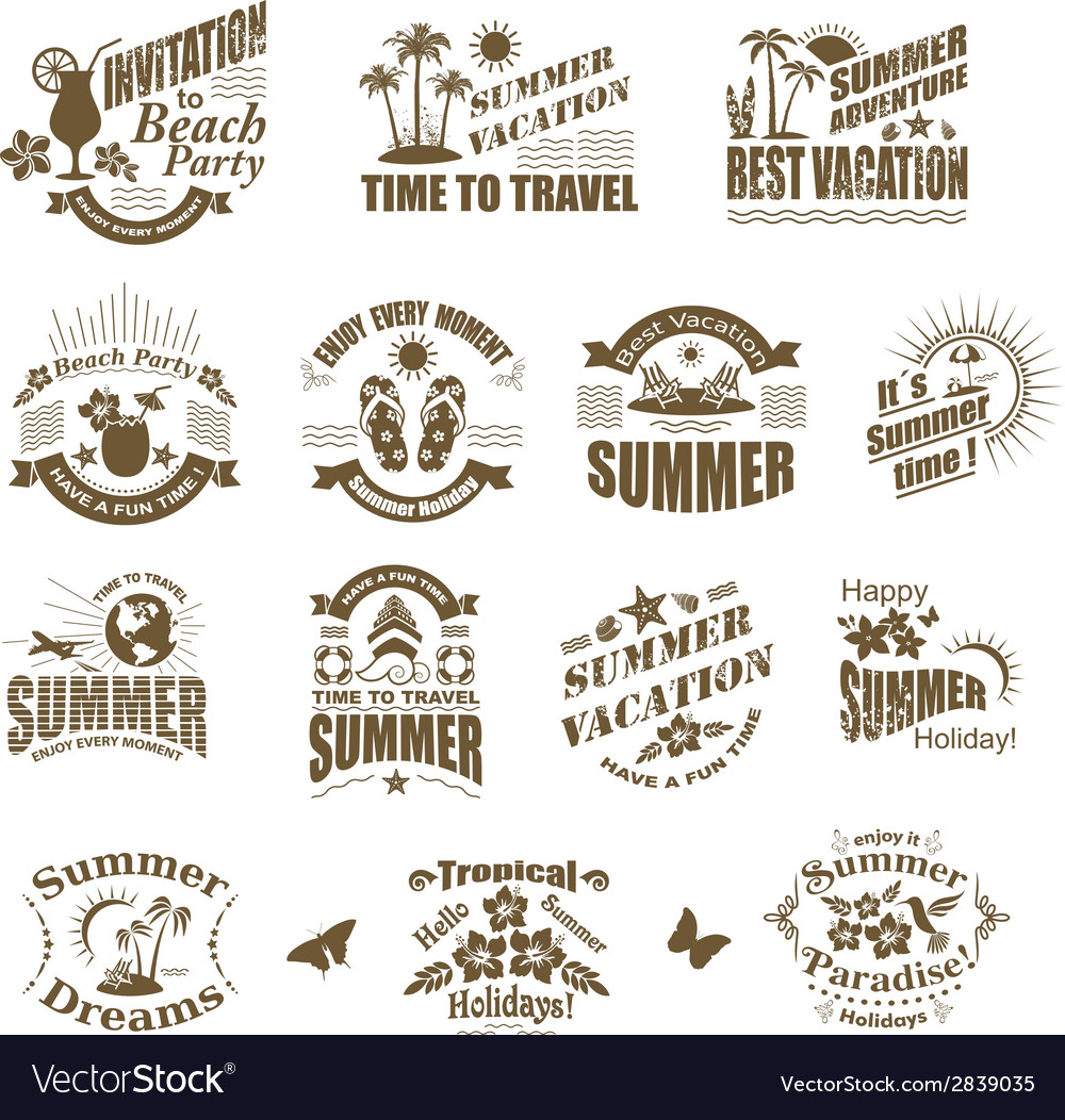 Set of summer design elements and frames vector | Price: 1 Credit (USD $1)