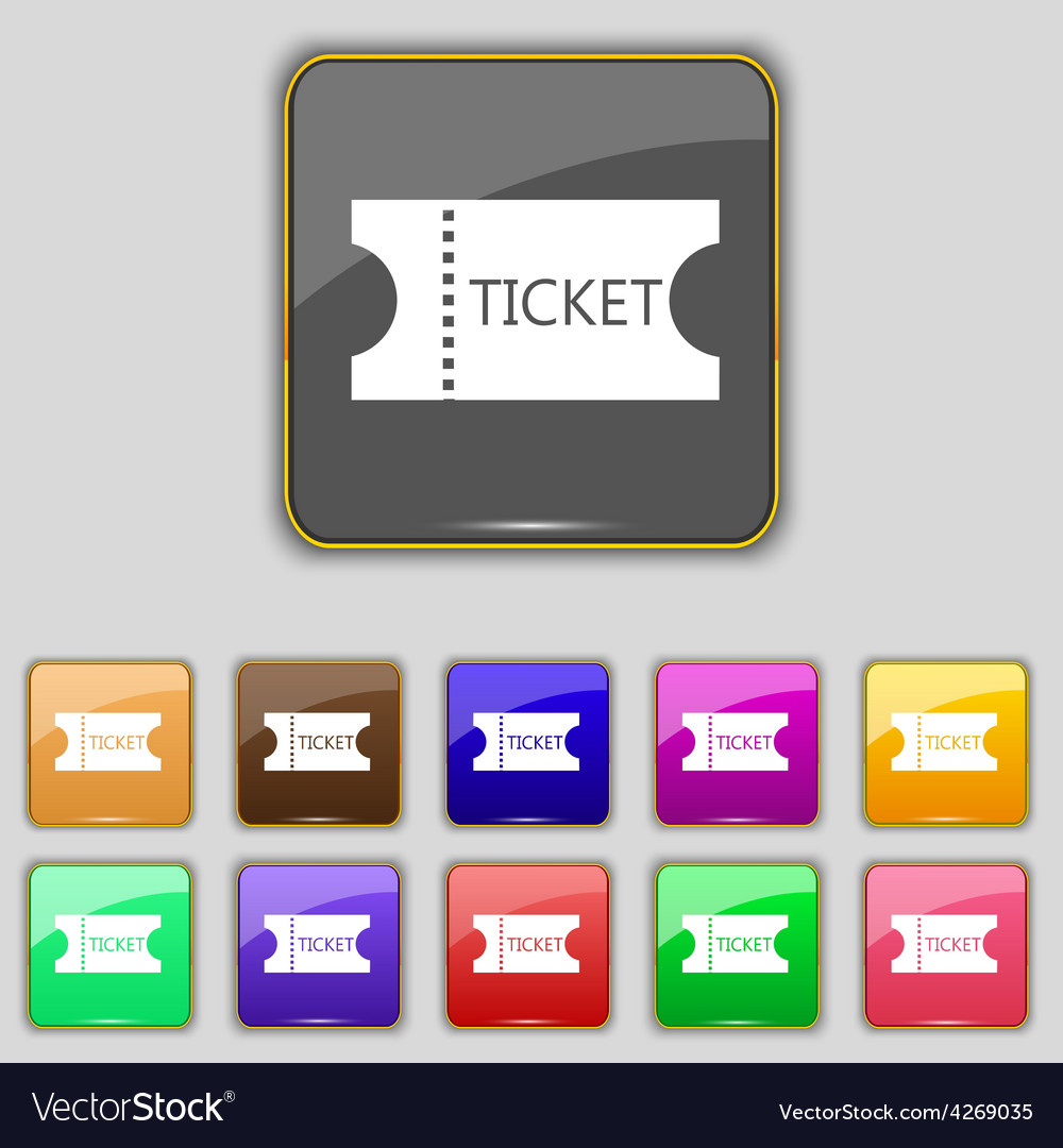 Ticket icon sign set with eleven colored buttons vector | Price: 1 Credit (USD $1)