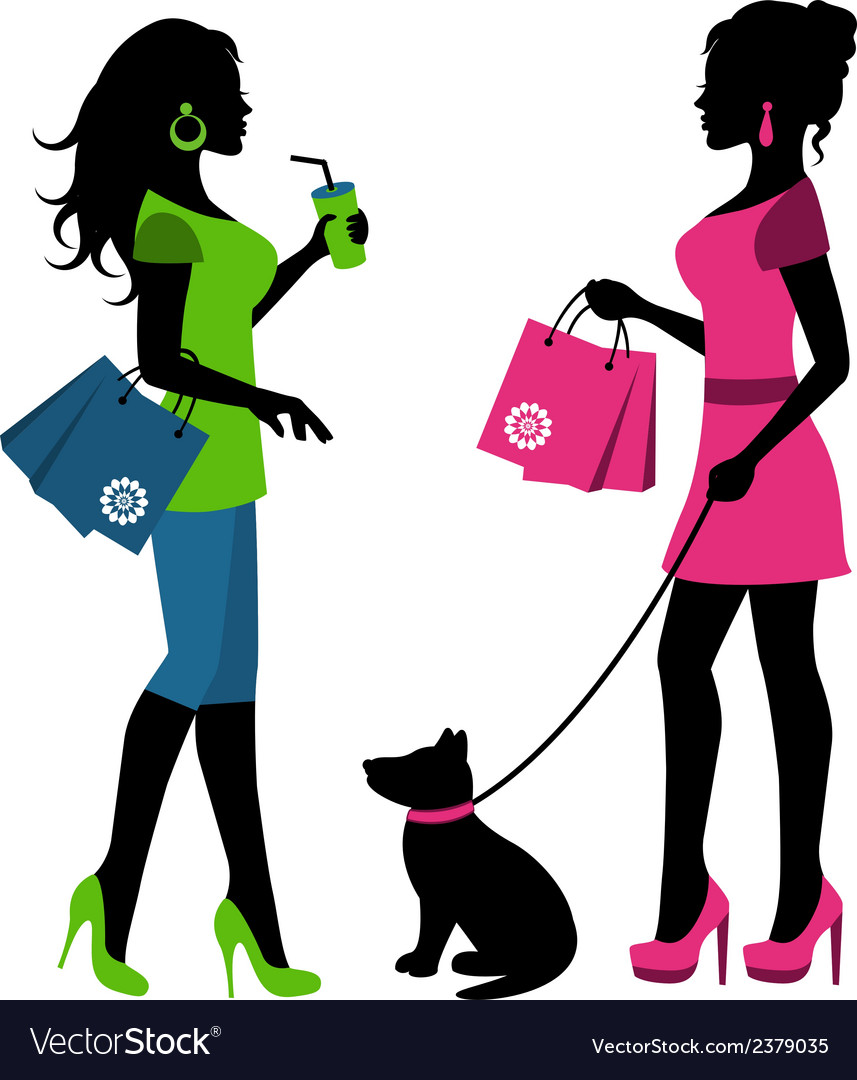 Two women with bags and a dog on a leash vector | Price: 1 Credit (USD $1)
