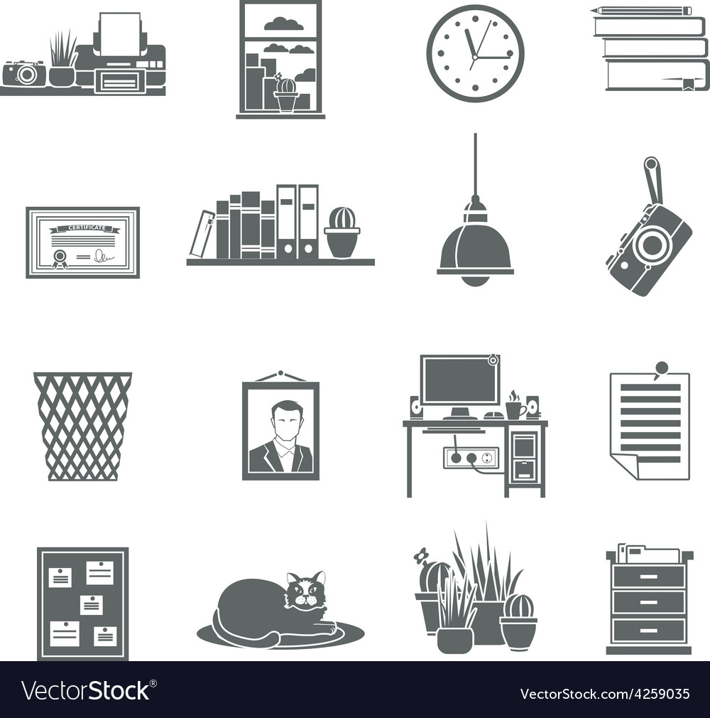 Workplace icons set vector | Price: 1 Credit (USD $1)