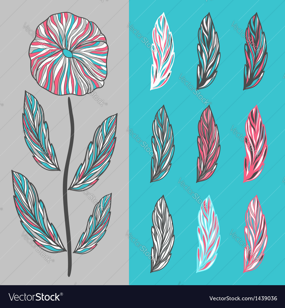 Abstract flower and leaves vector | Price: 1 Credit (USD $1)