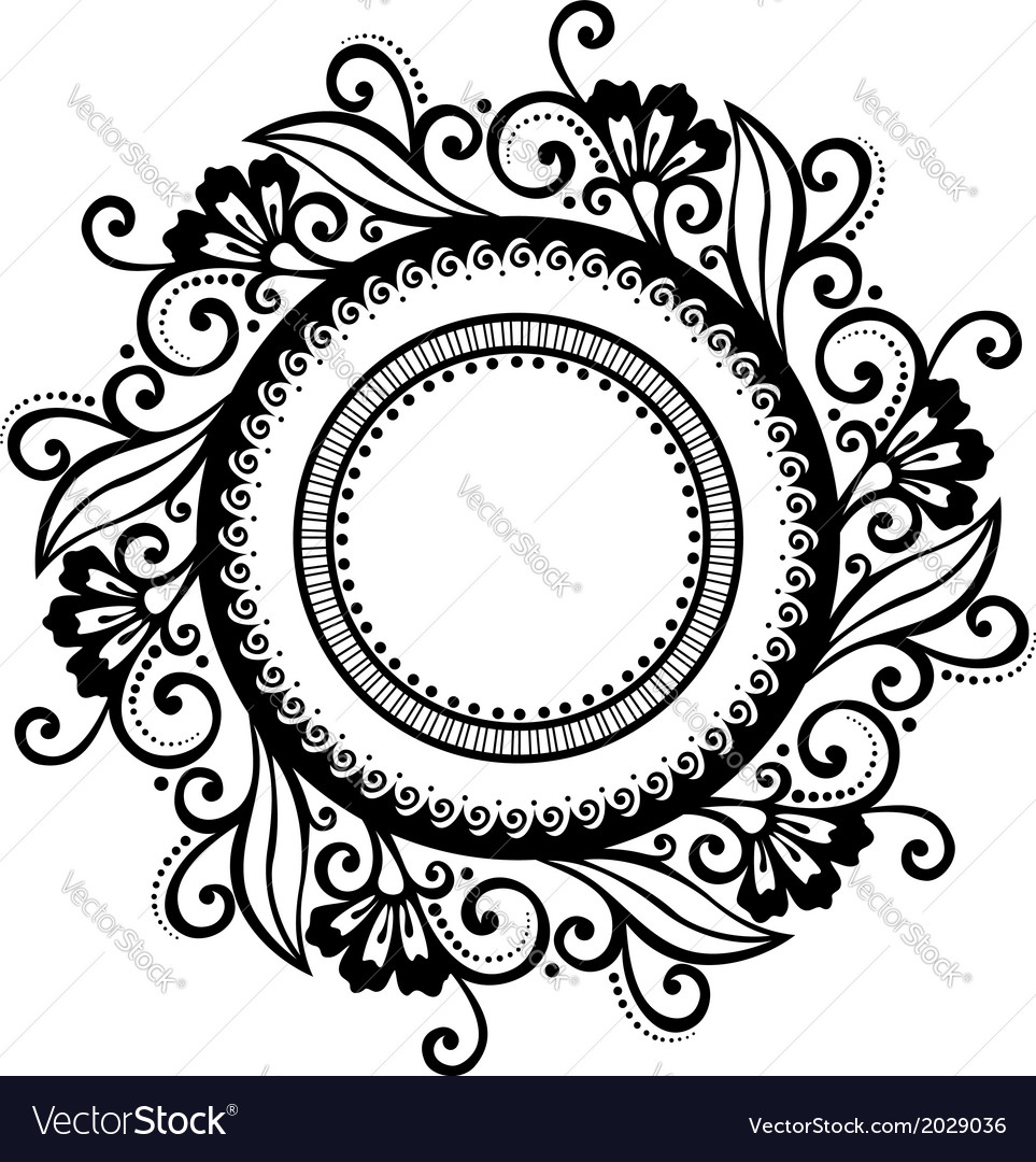 Beautiful deco floral circle vector | Price: 1 Credit (USD $1)