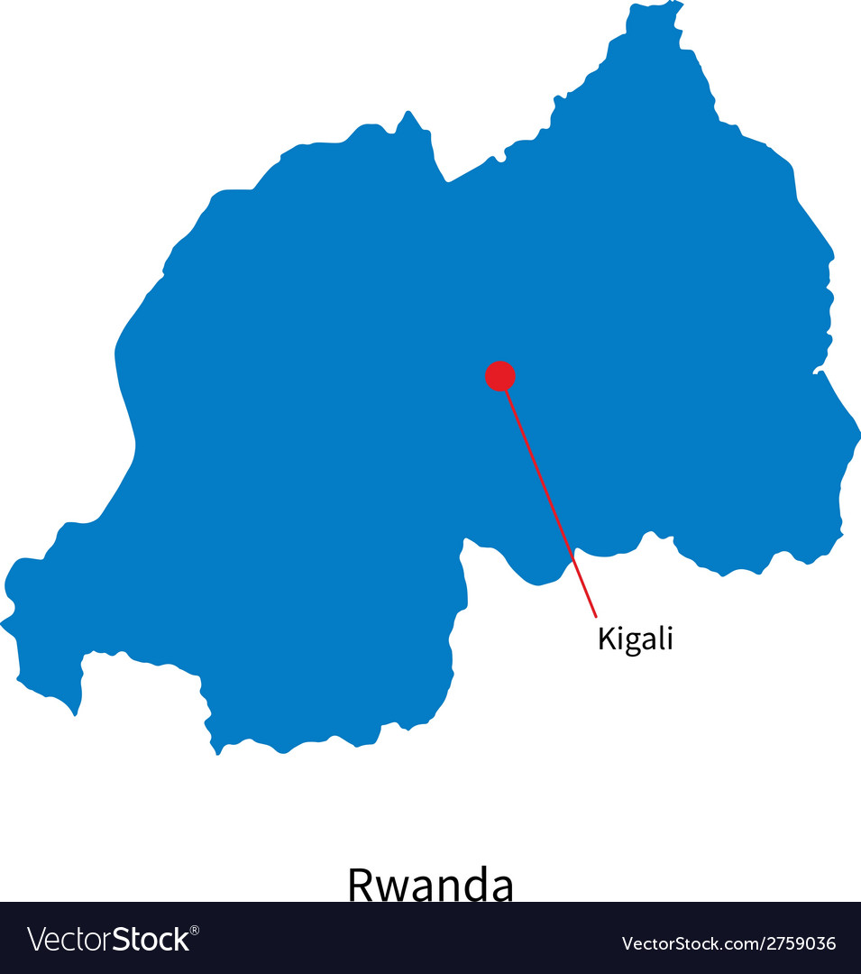 Detailed map of rwanda and capital city kigali vector | Price: 1 Credit (USD $1)