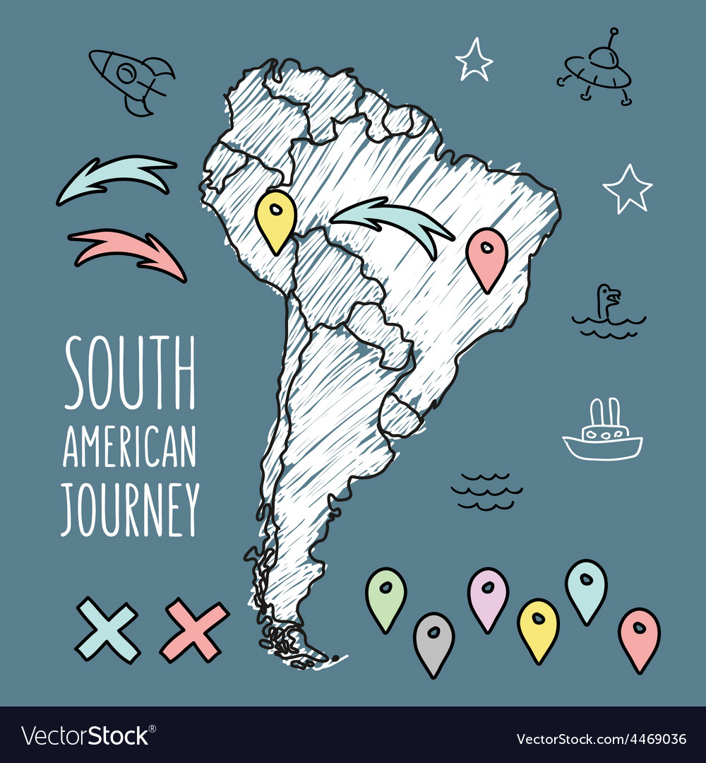 Doodle south america map on navy blue chalkboard vector | Price: 1 Credit (USD $1)