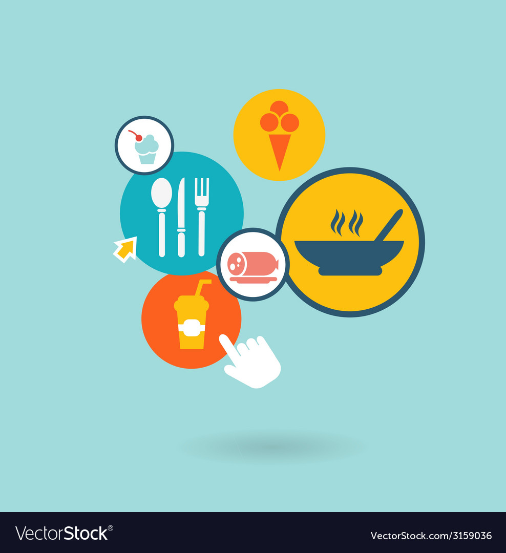 Food composition of the icons vector | Price: 1 Credit (USD $1)