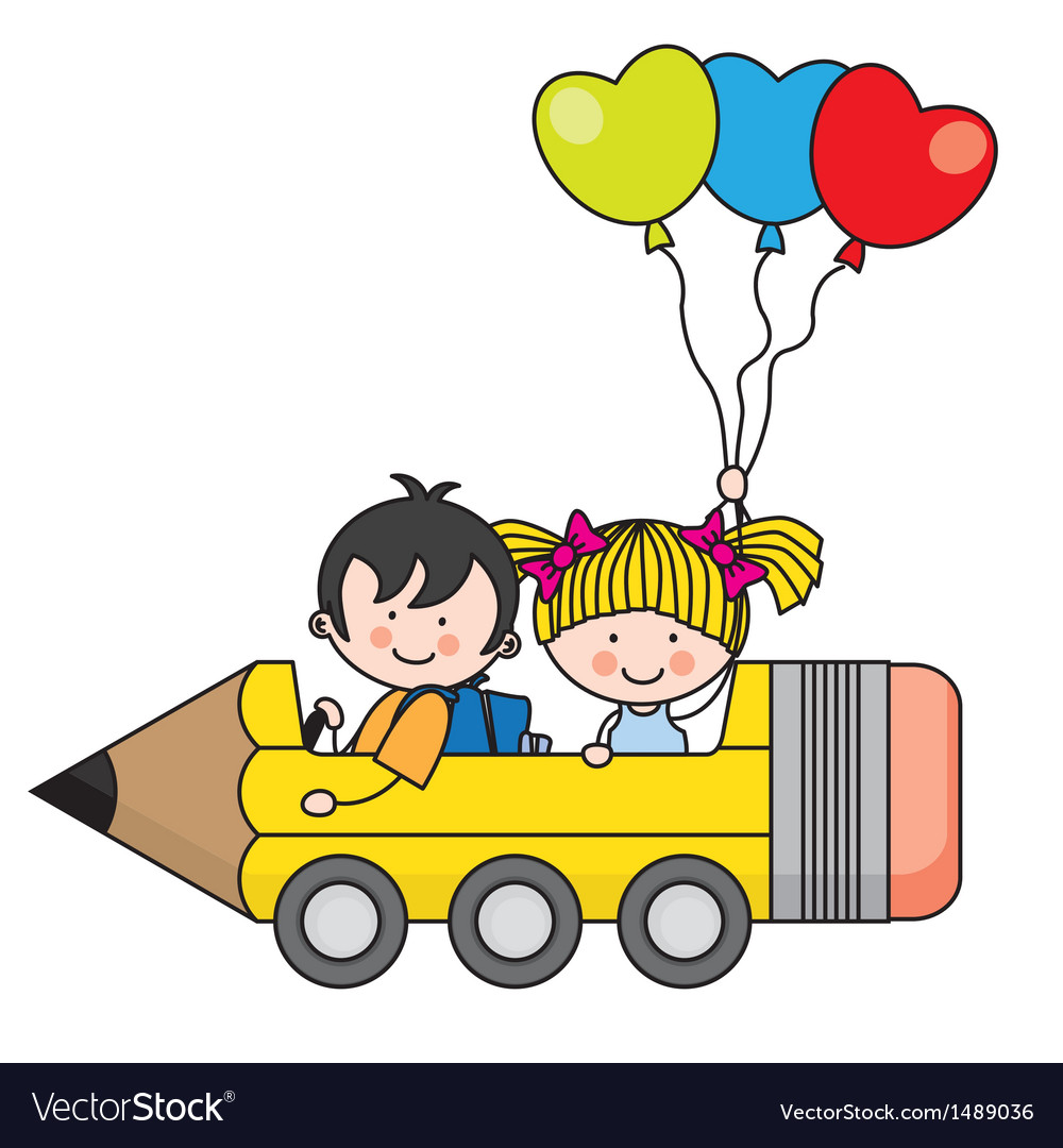 Kids riding a pencil car vector | Price: 3 Credit (USD $3)