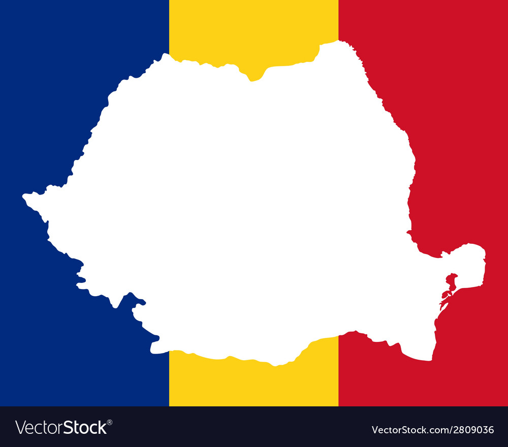 Map and flag of romania vector | Price: 1 Credit (USD $1)