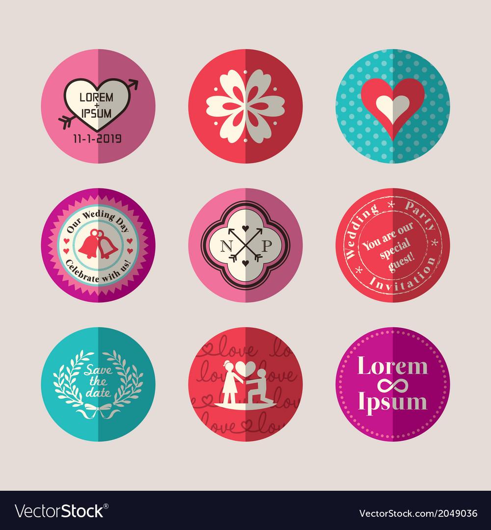 Modern style wedding symbol flat design icon set vector | Price: 1 Credit (USD $1)
