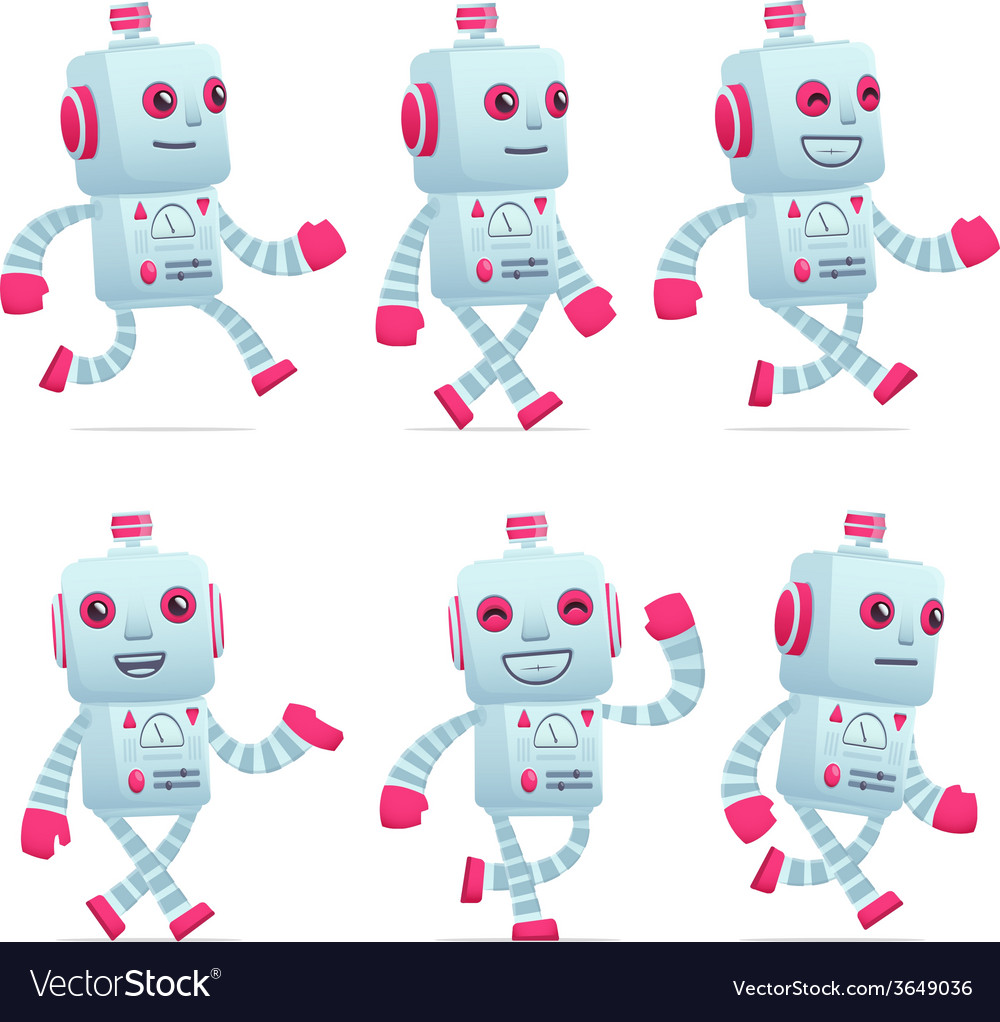 Set of robot character in different poses vector | Price: 3 Credit (USD $3)