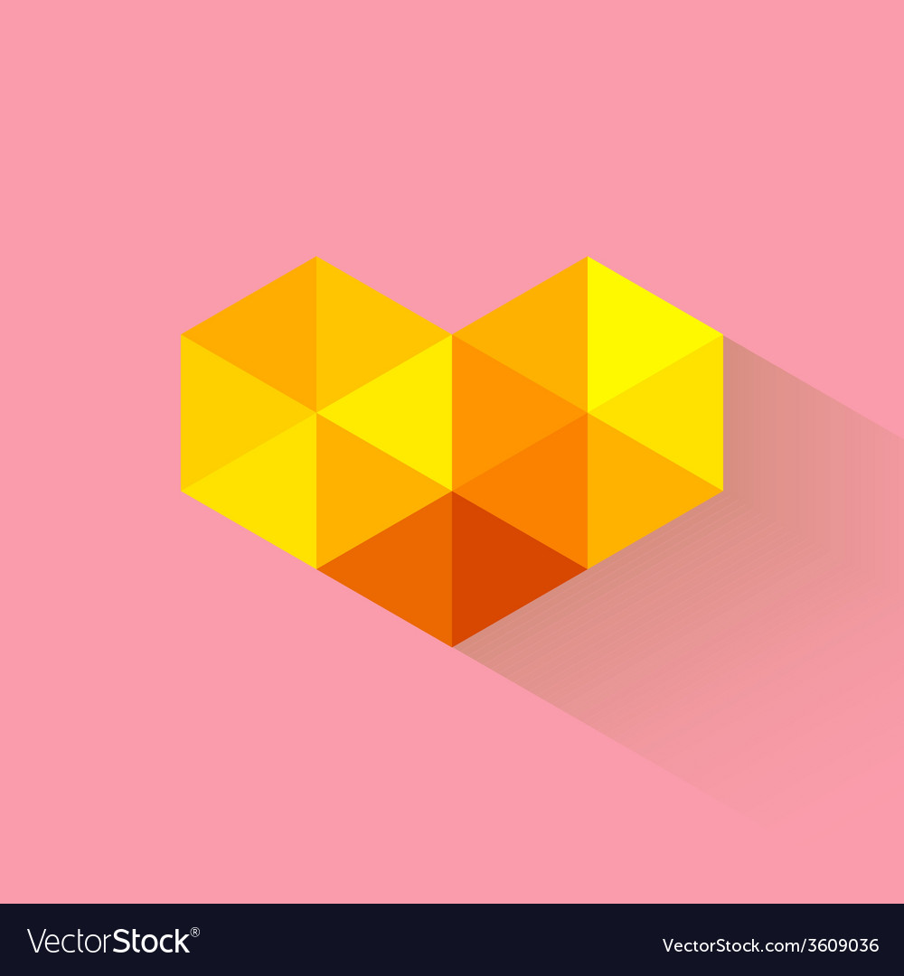Triangle heart with long shadow vector | Price: 1 Credit (USD $1)