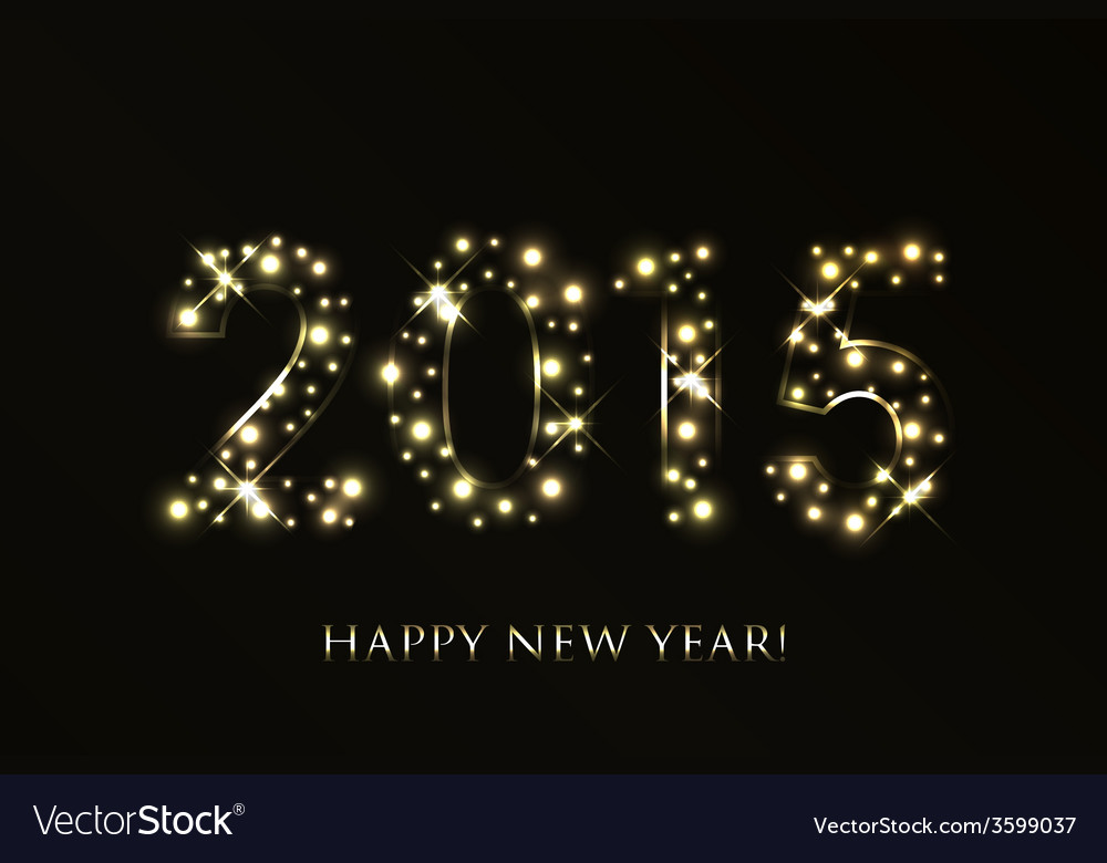 2015 happy new year background with gold sparkles vector | Price: 1 Credit (USD $1)