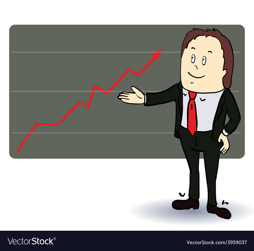 A man stands at the diagram of the arrow vector   Price: 1 Credit (USD $1)